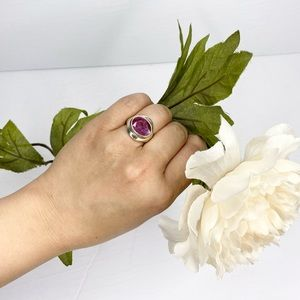 Vintage Large Faceted Oval Ruby Silver Ring